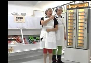 Komische voorstelling met slagerskunst