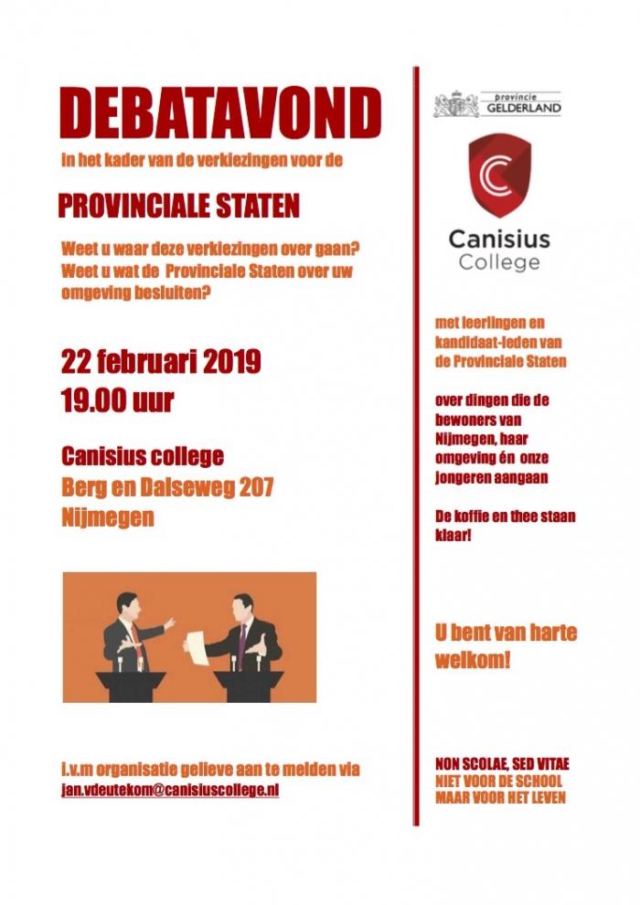 Leerlingen van het Canisius College debatteren met Politieke Partijen van de Provinciale Statenverkiezingen