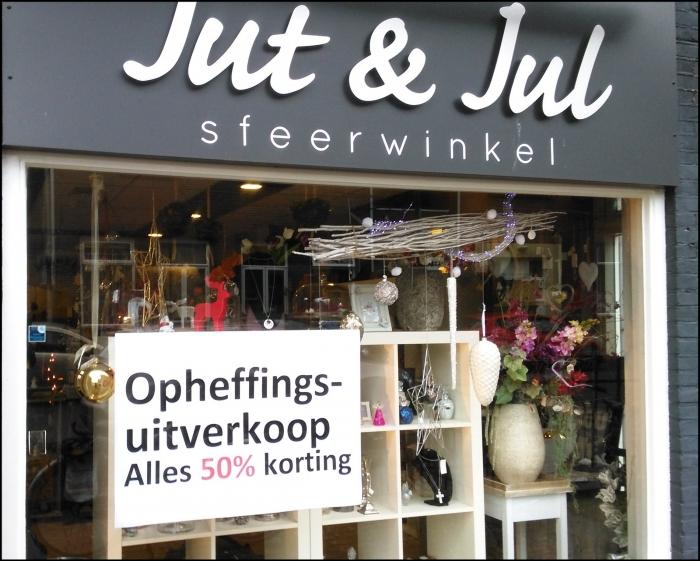 Jut & Jul Sfeerwinkel stopt. Opheffingsuitverkoop!