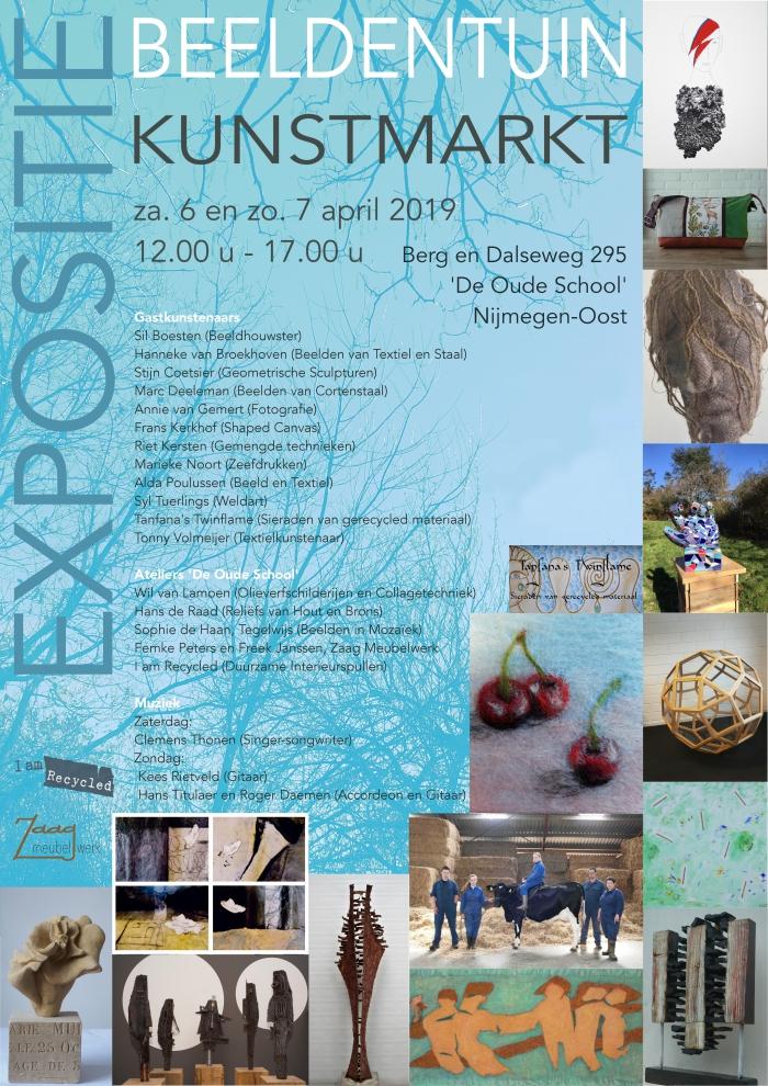 Beeldentuin, Expositie en Kunstmarkt 6 en 7 april '19 in de 'Oude School' Berg en Dalseweg 295