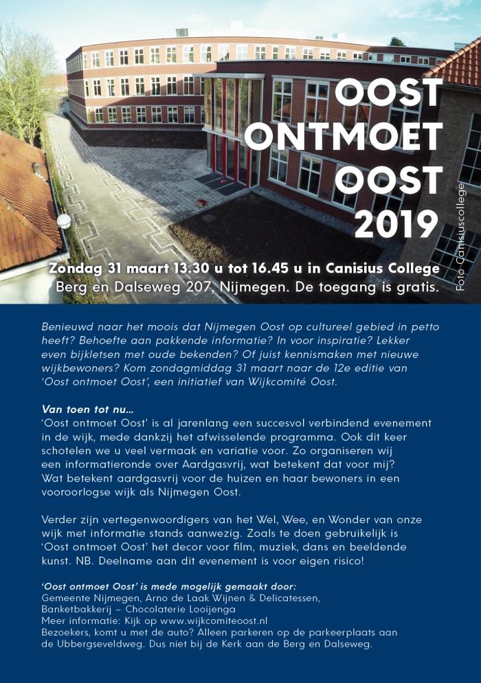 ´OOST ontmoet OOST'  zondag 31 maart 2019 van 13.30 tot 16.45 uur  in het CanisiusCollege.