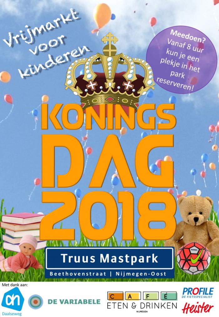 Kindervrijmarkt op Koningsdag in Nijmegen-Oost